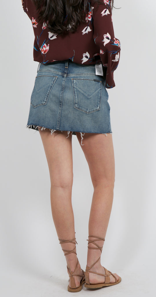 Vivid Denim Mini Skirt Re-Hem Sunday Girl