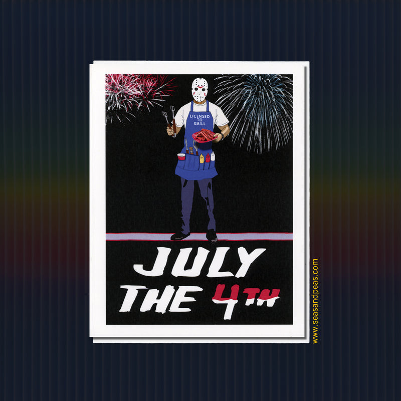 """Friday the 13th"" Jason Voorhees Fourth of July Card - Seas and Peas"