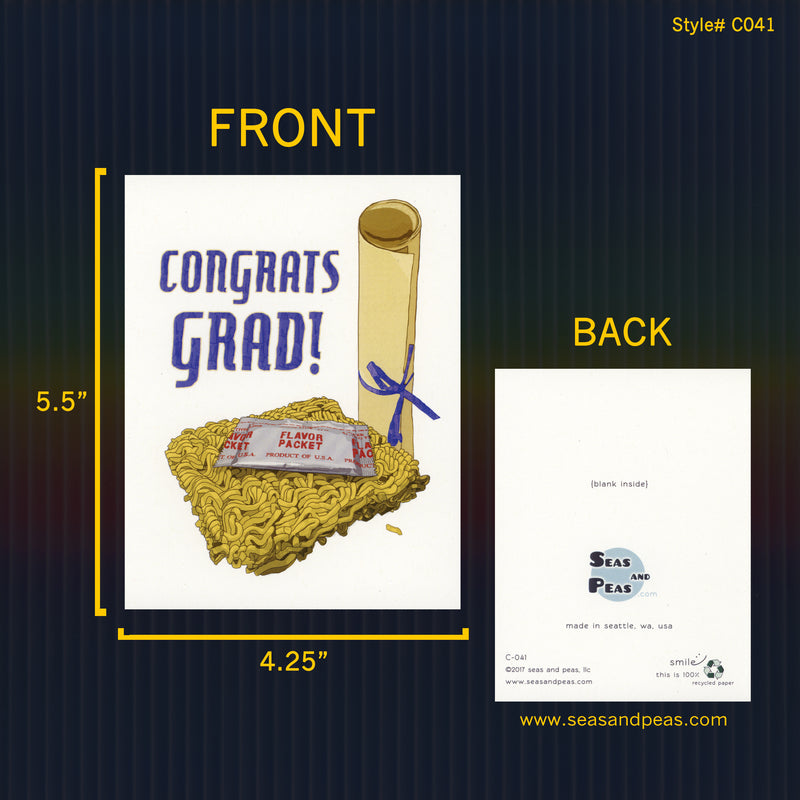 Instant Ramen Graduation Congratulations Card - Seas and Peas