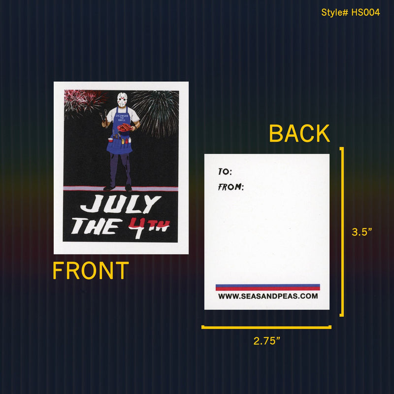 """Jason Voorhees"" Mini Flat Fourth of July Notecard Set"