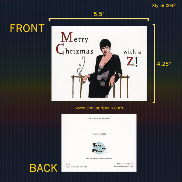 Liza Minnelli Christmas Card with a Z - Seas and Peas