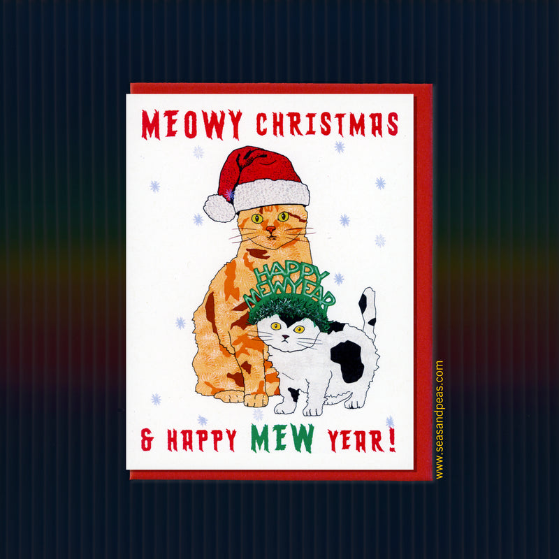 Meowy Christmas & Happy Mew Year Card - Seas and Peas