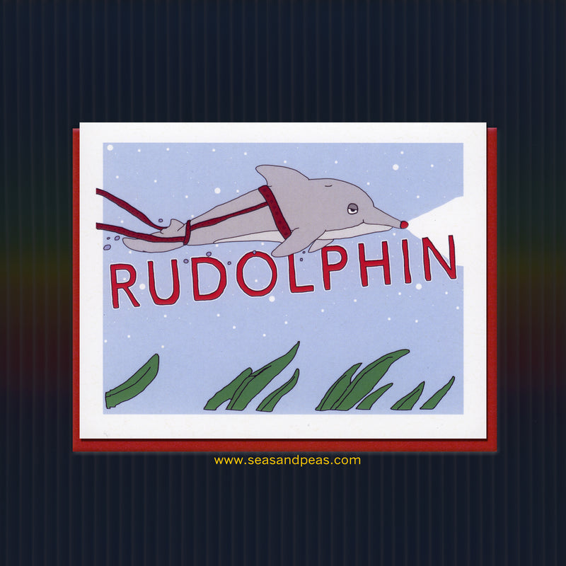 Rudolphin the Red-Nosed Dolphin Christmas Card - Seas and Peas
