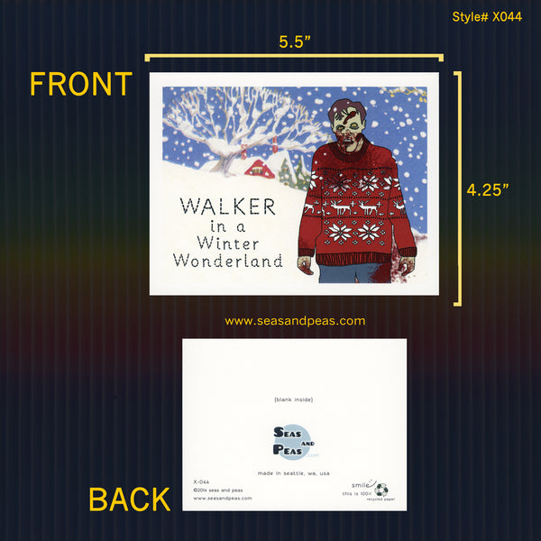 Walker in a Winter Wonderland Christmas Card - Seas and Peas