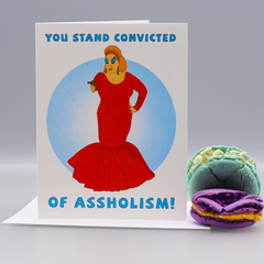 "Convicted of As*holism ""Pink Flamingos"" Greeting Card - Mature"