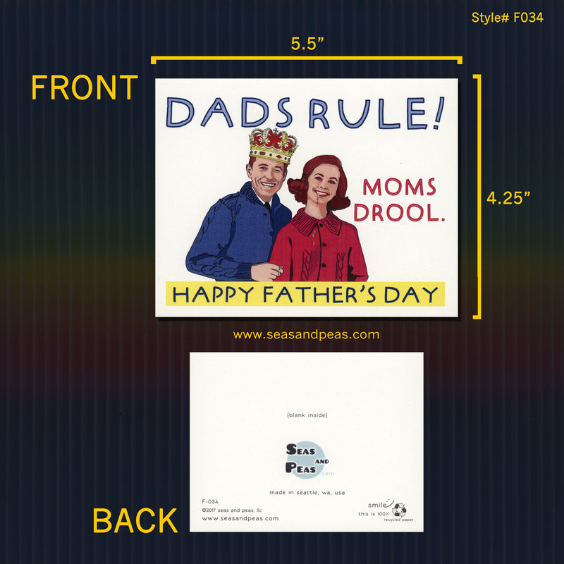 Dads Rule Moms Drool Father's Day Card - Seas and Peas