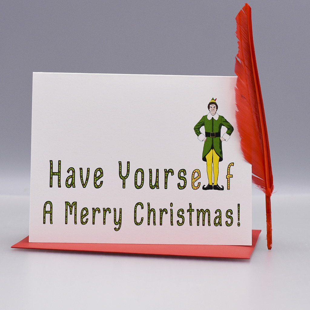a sassy christmas card featuring buddy the elf will ferrell in elf do yourself a favor and buy this cute card see what we did there - Elf Christmas Card