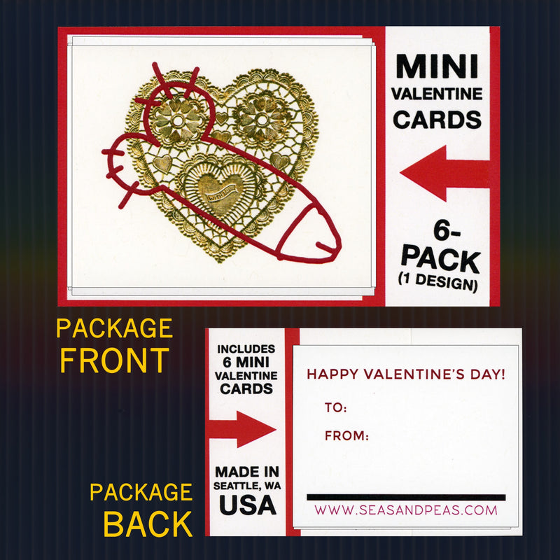 """Crudely Vandalized"" Mini Flat Valentine Notecard Set"