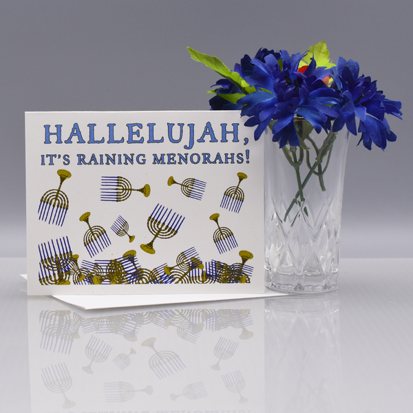 Raining Menorahs Hannukah Card