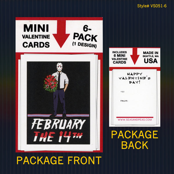 "Jason Voorhees ""Friday the 13th"" Mini Flat Valentine Notecard Set"