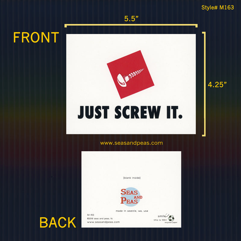 """Just Screw It"" Nike Parody Greeting Card - Seas and Peas"