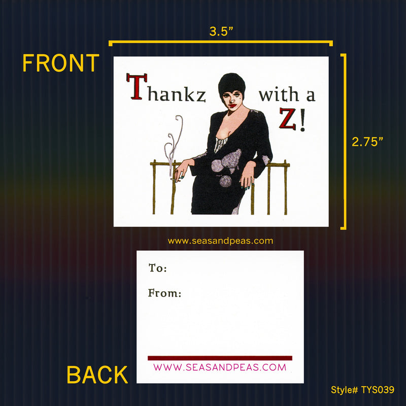 """Liza Minnelli"" Mini Flat Thank You Notes with a Z - Seas and Peas"