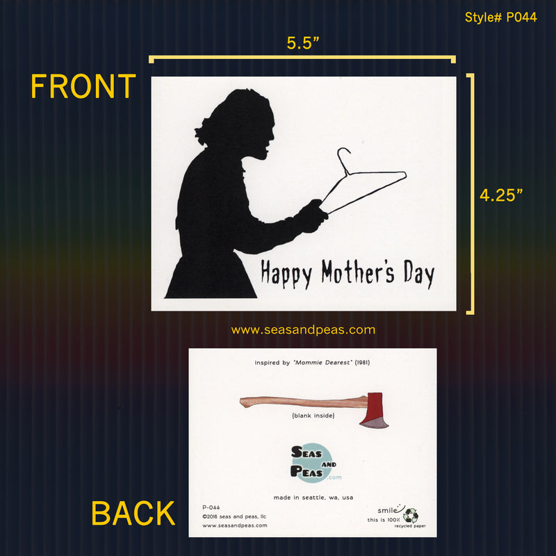 """Mommie Dearest"" No Wire Hangers Mother's Day Card - Seas and Peas"