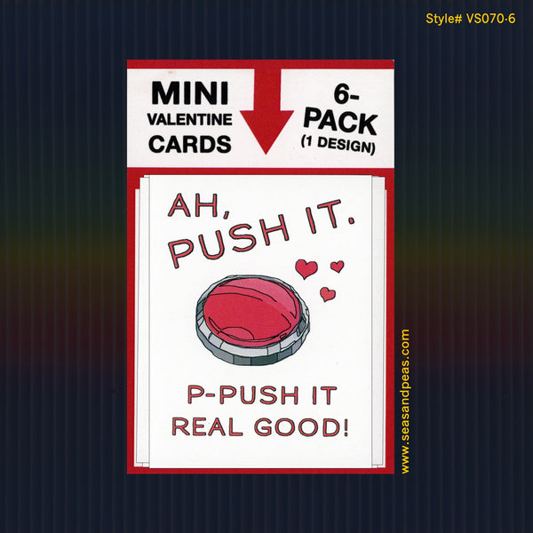"""Ah Push It"" Mini Flat Valentine Notecard Set"