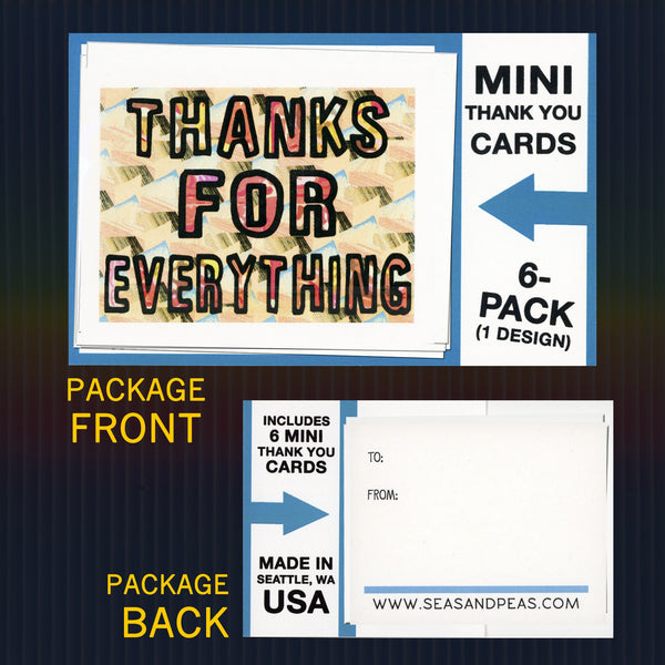 """Thanks for Everything"" Mini Flat Thank You Notes - Seas and Peas"