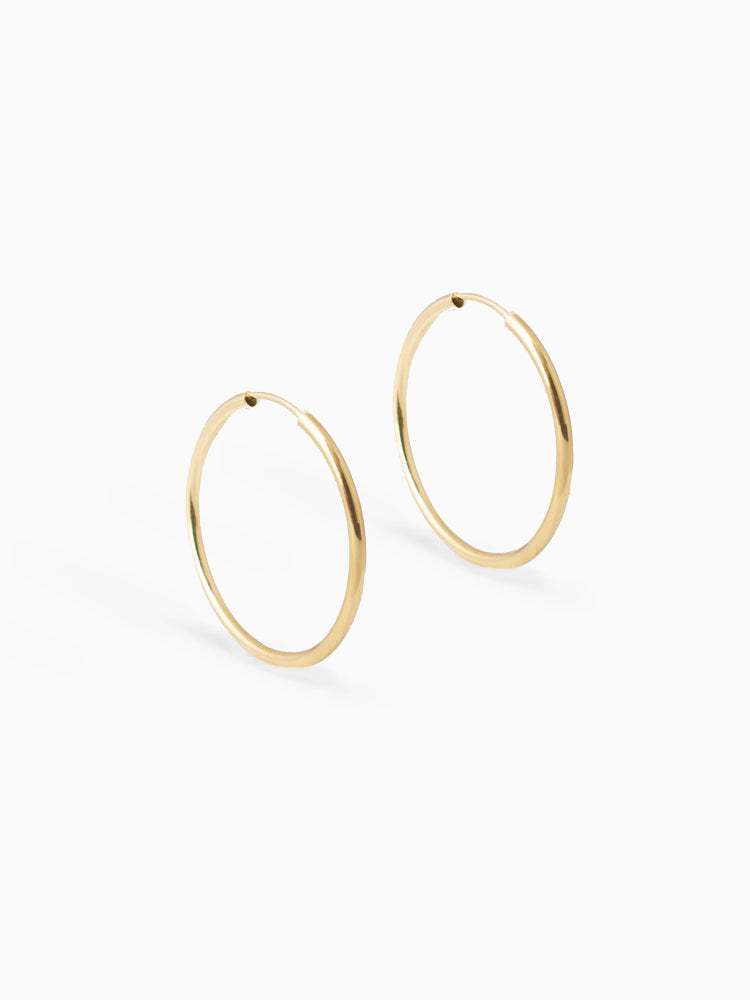 Earring Facet 30 mm 14kt Solid Gold