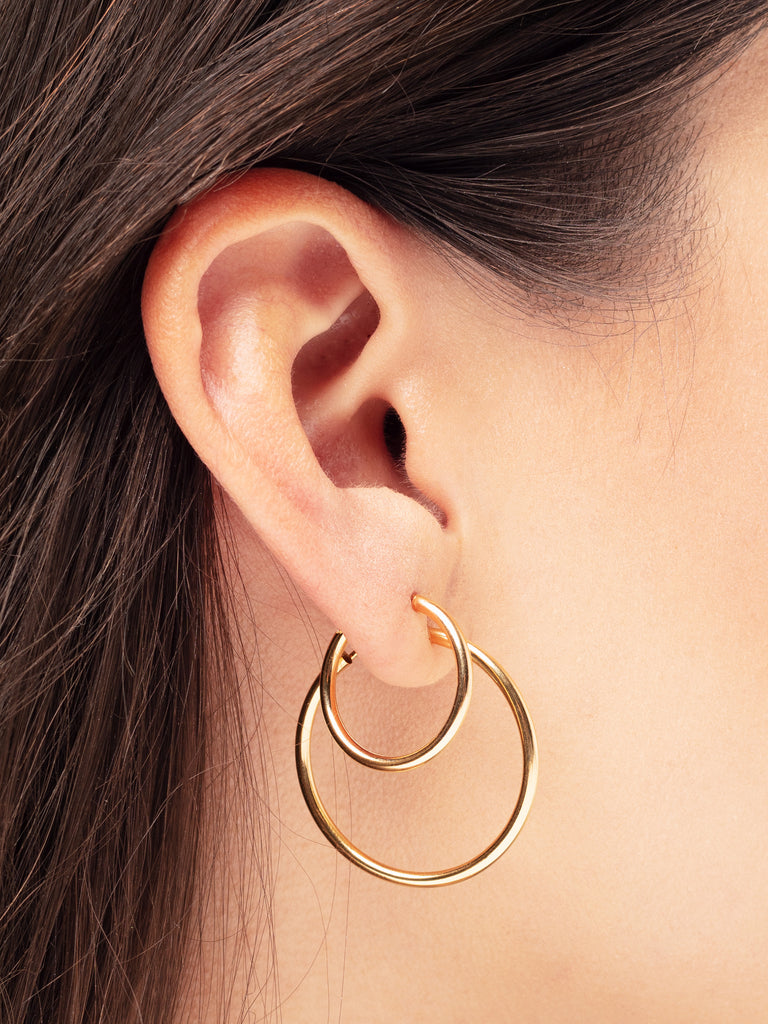 Earring Facet 40 mm 14kt Solid Gold