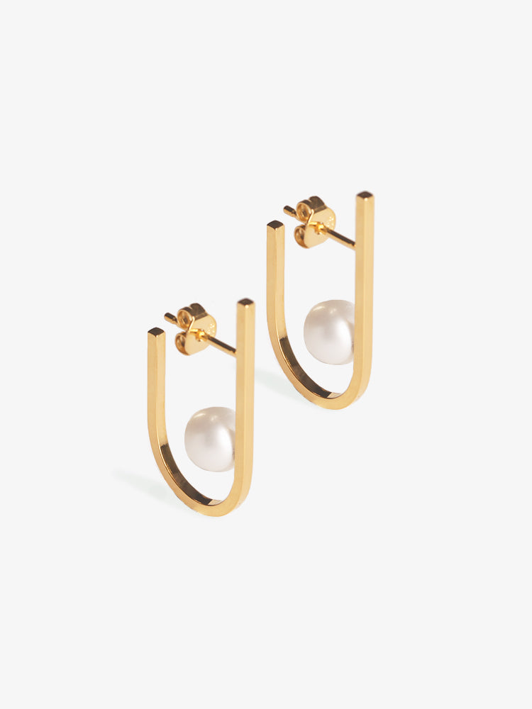 Earring Rivet Pearl 14kt Solid Gold