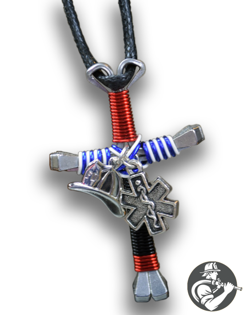 Firefighterstar of life cross necklace national firehouse depot firefighterstar of life cross necklace aloadofball Image collections