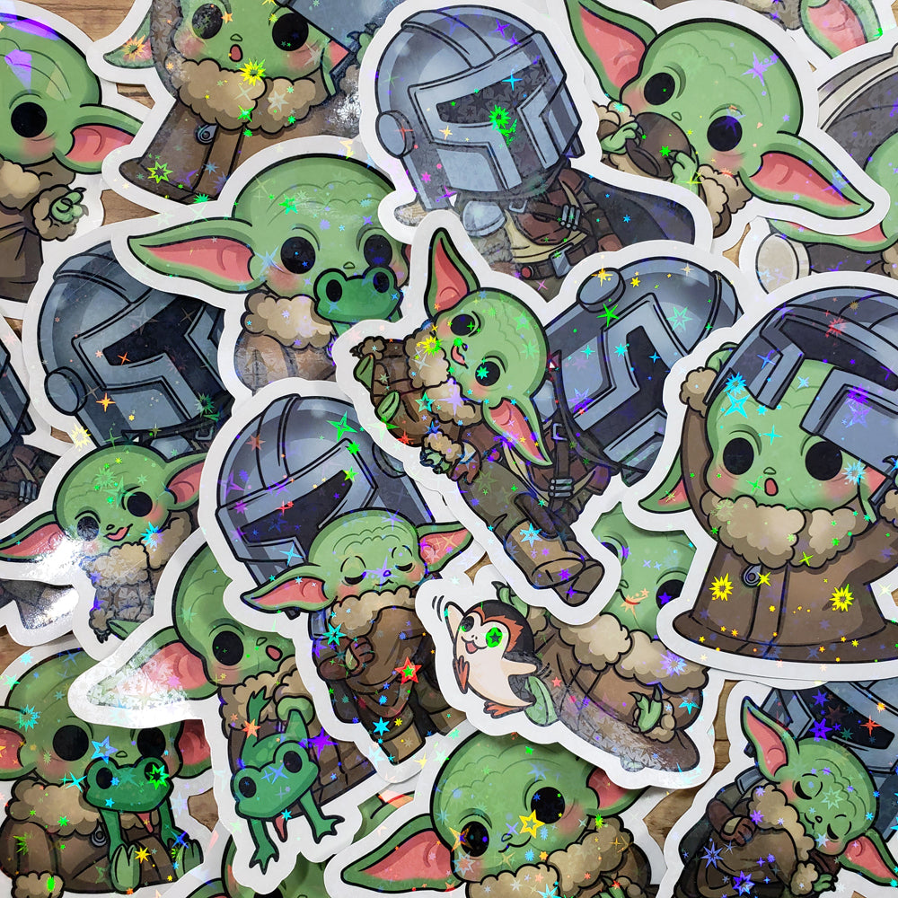Bounty Hunter & Baby Holo Diecut Stickers