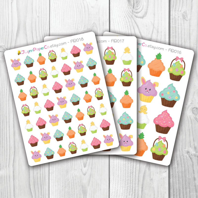 Easter Holiday Cupcake Stickers | AB004
