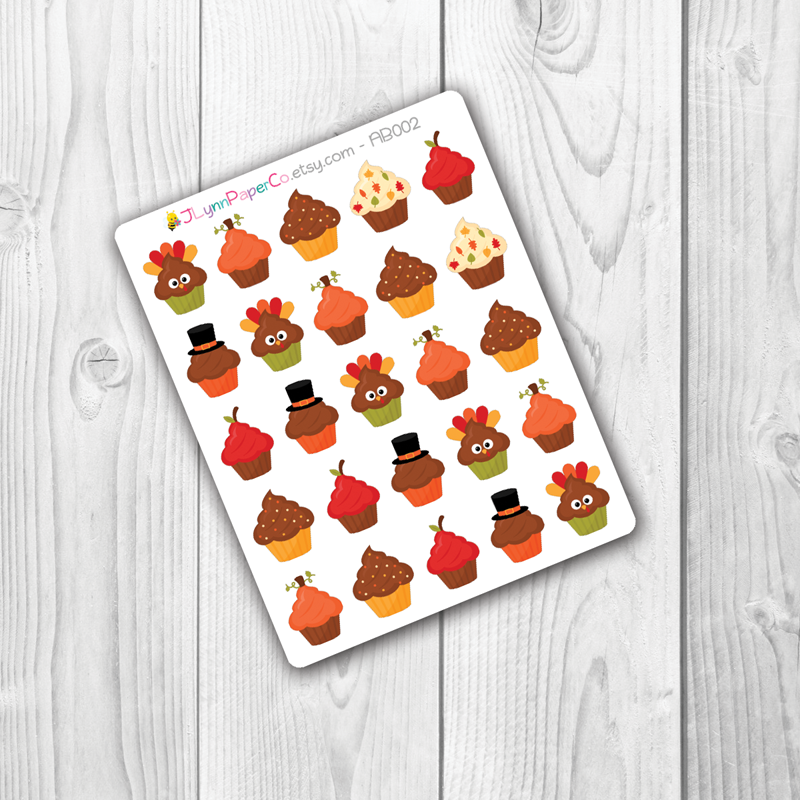 Thanksgiving Holiday Cupcake Stickers | AB007