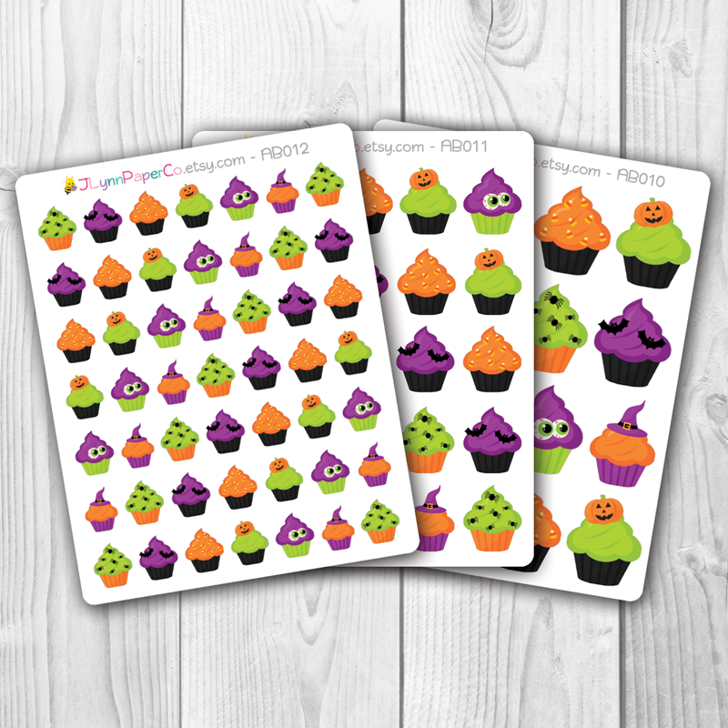 Halloween Holiday Cupcake Stickers | AB006