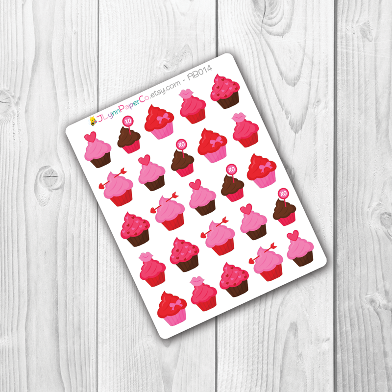 Valentine's Day Holiday Cupcake Stickers | AB002