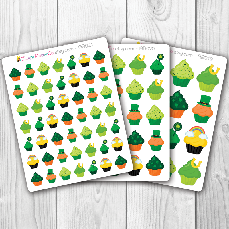 St. Patrick's Day Holiday Cupcake Stickers | AB003