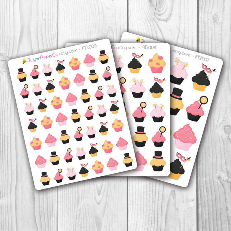 New Year's Holiday Cupcake Stickers | AB001