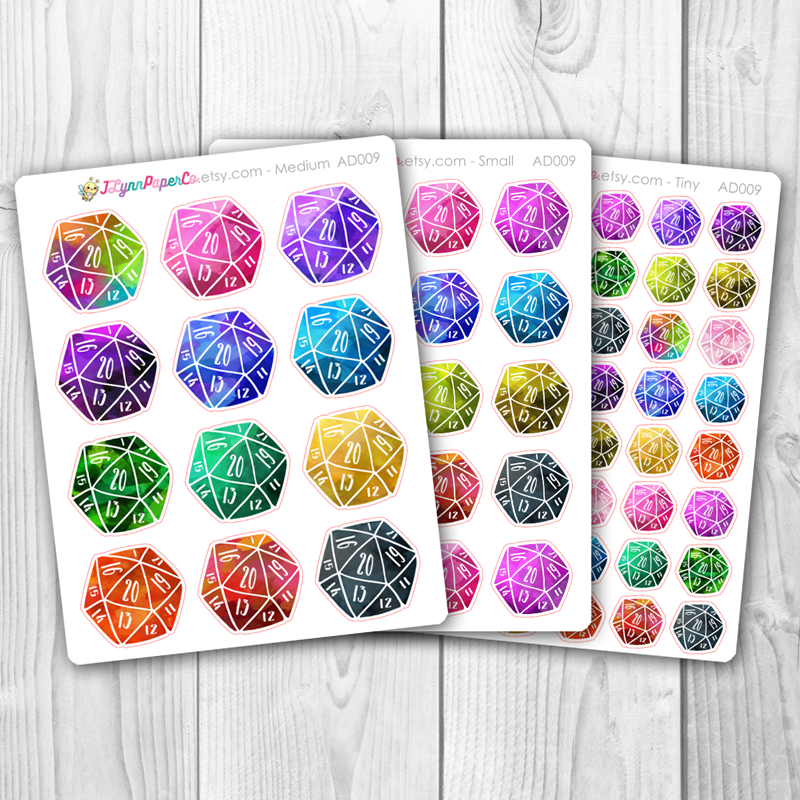 D20 Dice Stickers | AD009