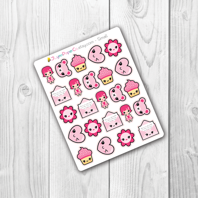 Kawaii Pink Stickers | AV004