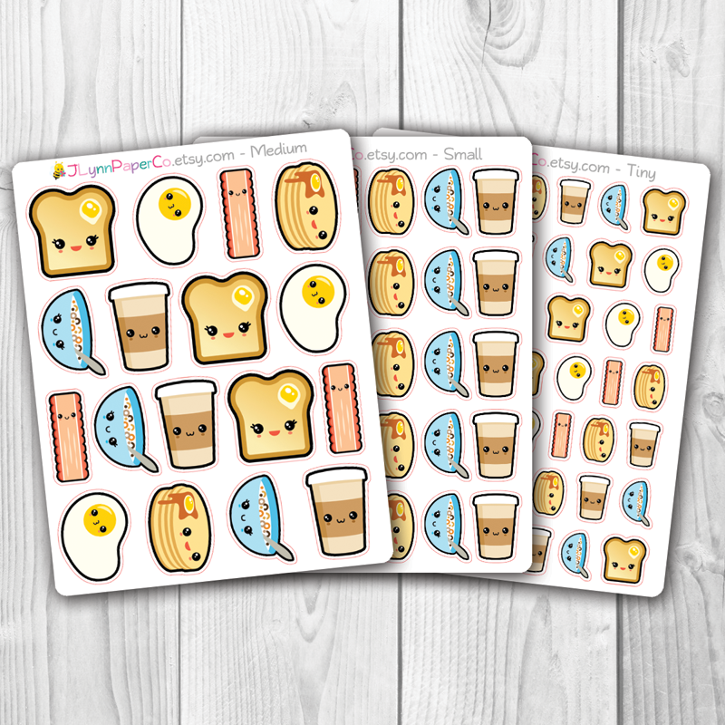Kawaii Breakfast Stickers | AV008
