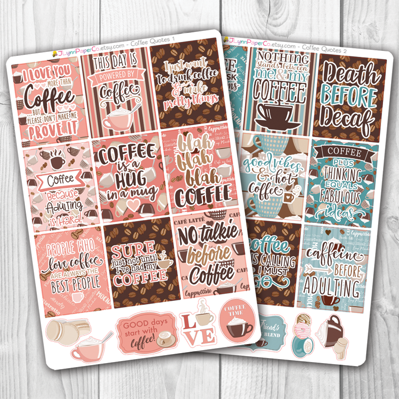 Coffee Quote Box Stickers