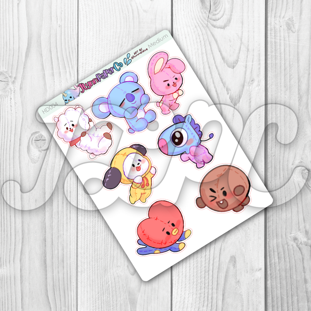 Kpop Animal Character Stickers | HD004