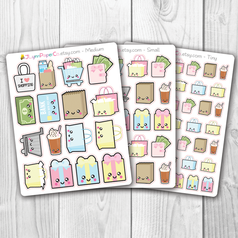 Kawaii Shopping Stickers | AL004