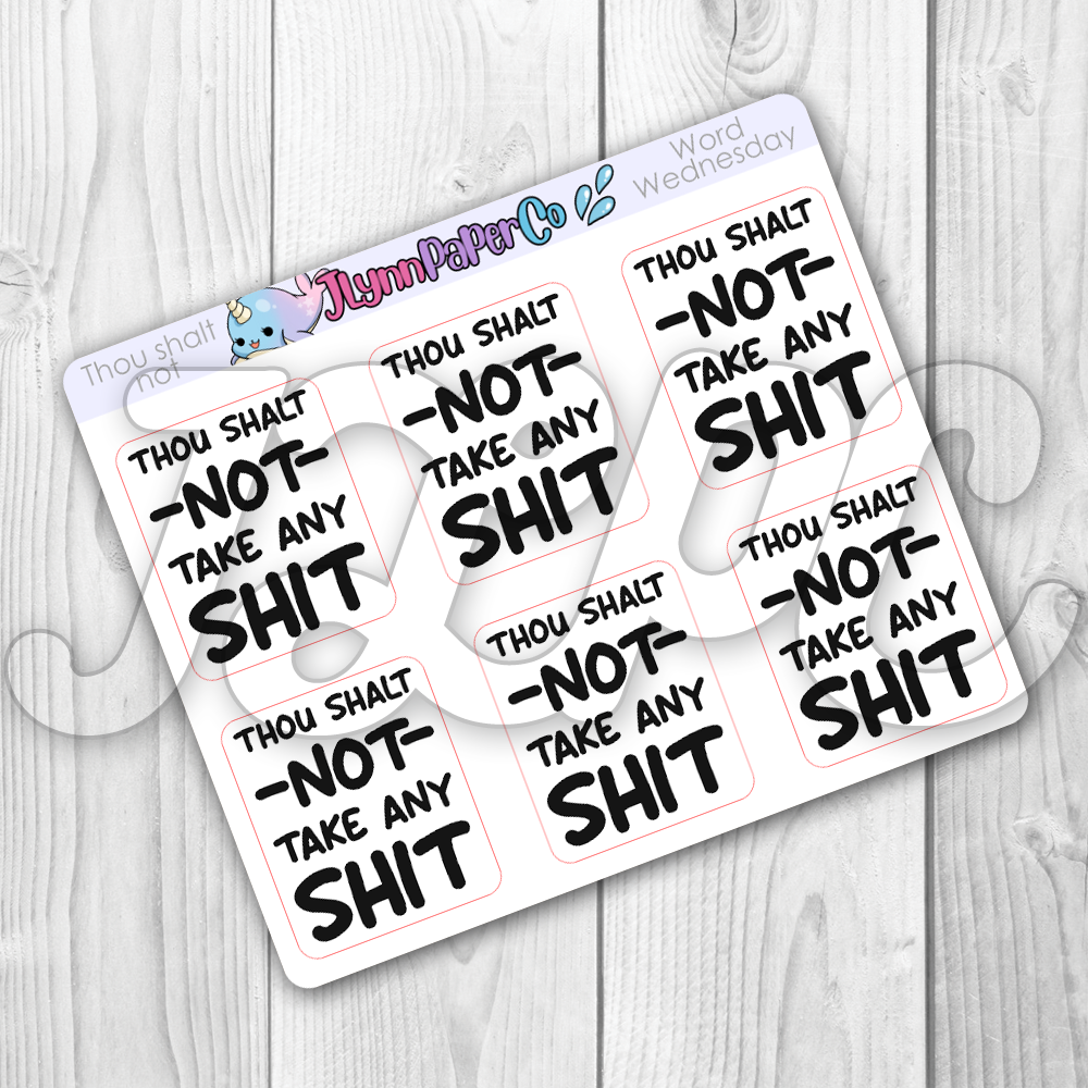 Thou Shalt Not... Stickers | Word Wednesday