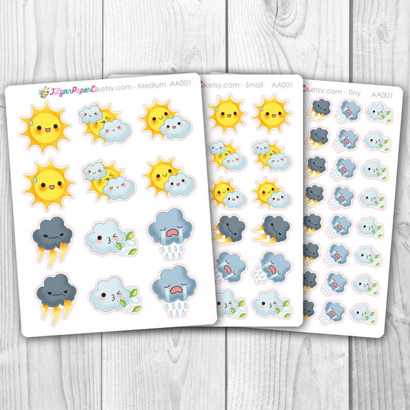 Kawaii Weather Stickers | AA001
