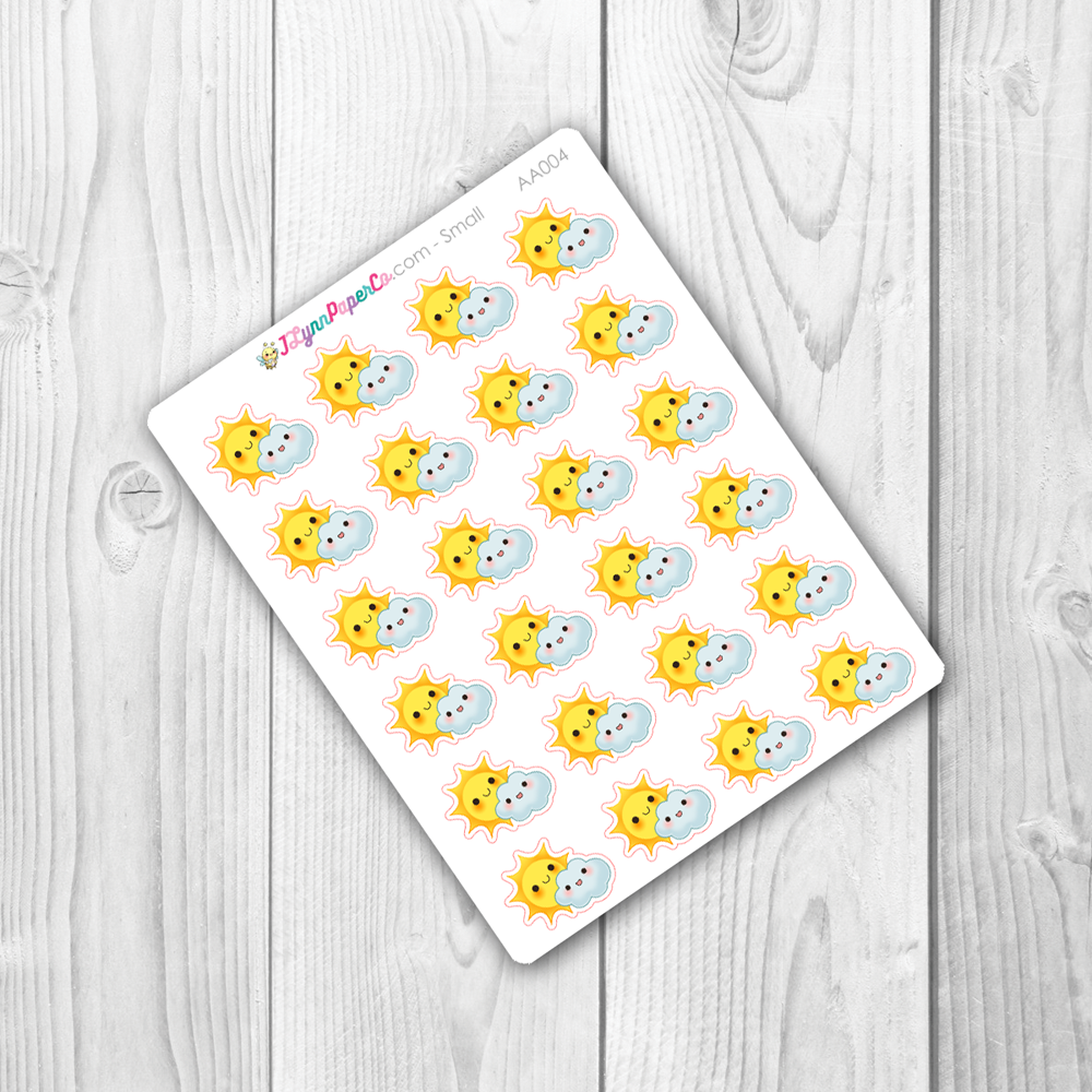 Kawaii Partly Cloudy Weather Stickers | AA004