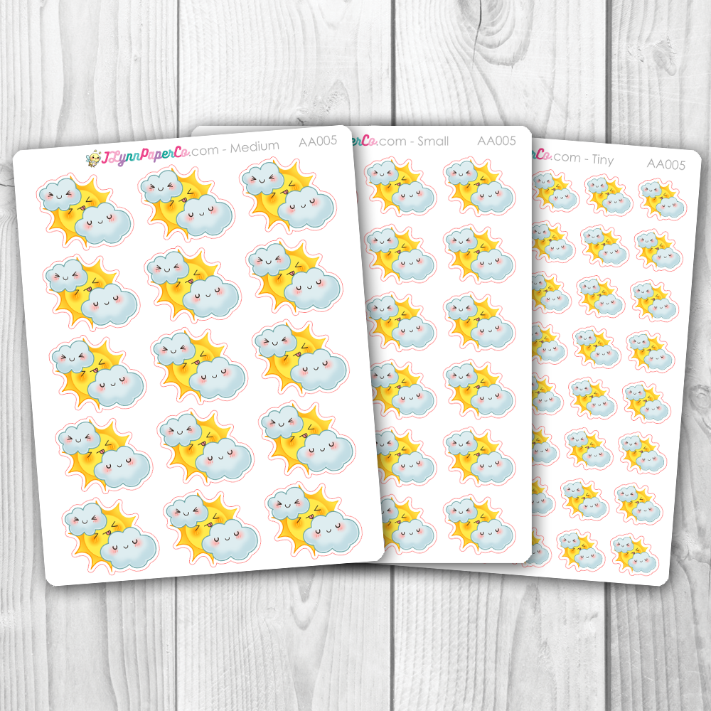 Kawaii Cloudy Weather Stickers | AA005