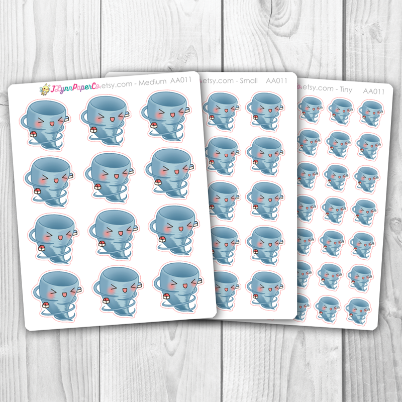 Kawaii Tornado Weather Stickers | AA011