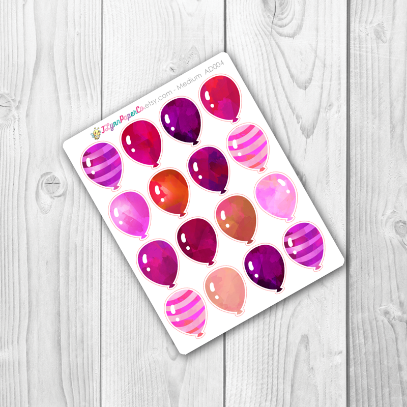 Pink Balloon Stickers | AD004
