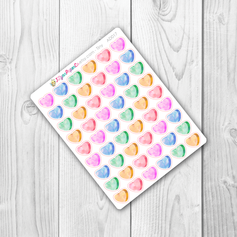 Blank Candy Hearts Stickers | AD013