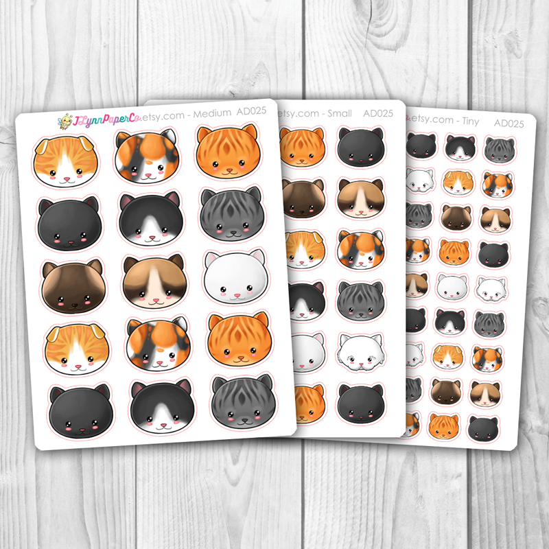 Kawaii Cat Face Deco Stickers | AD025