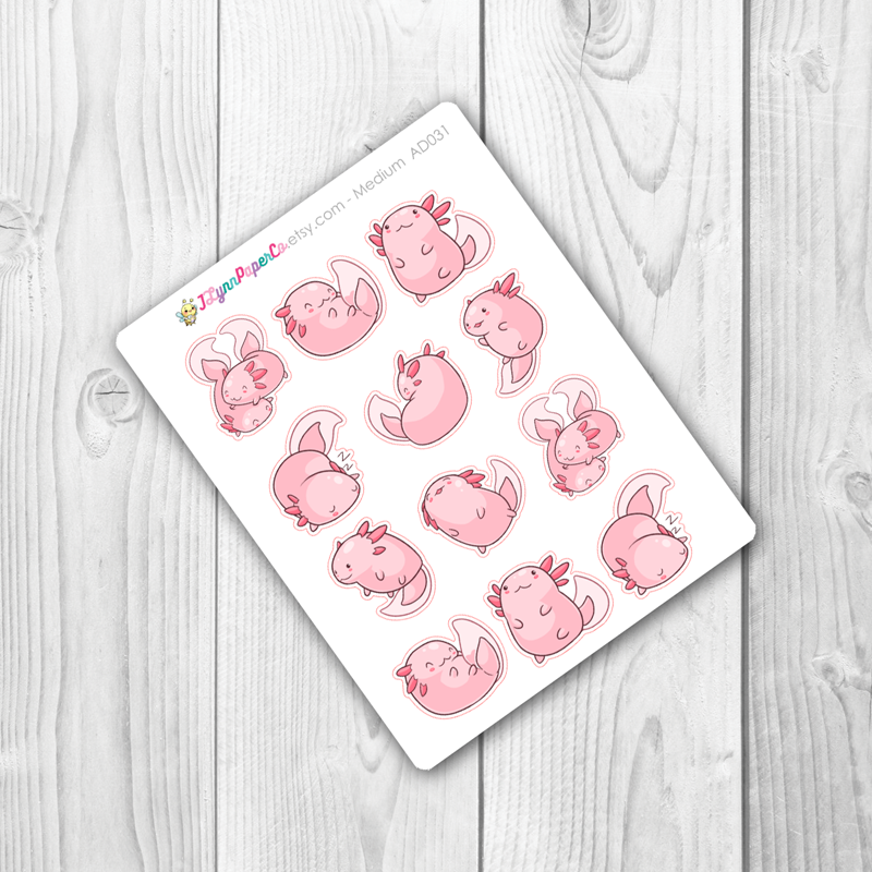 Kawaii Axolotl Deco Stickers | AD031