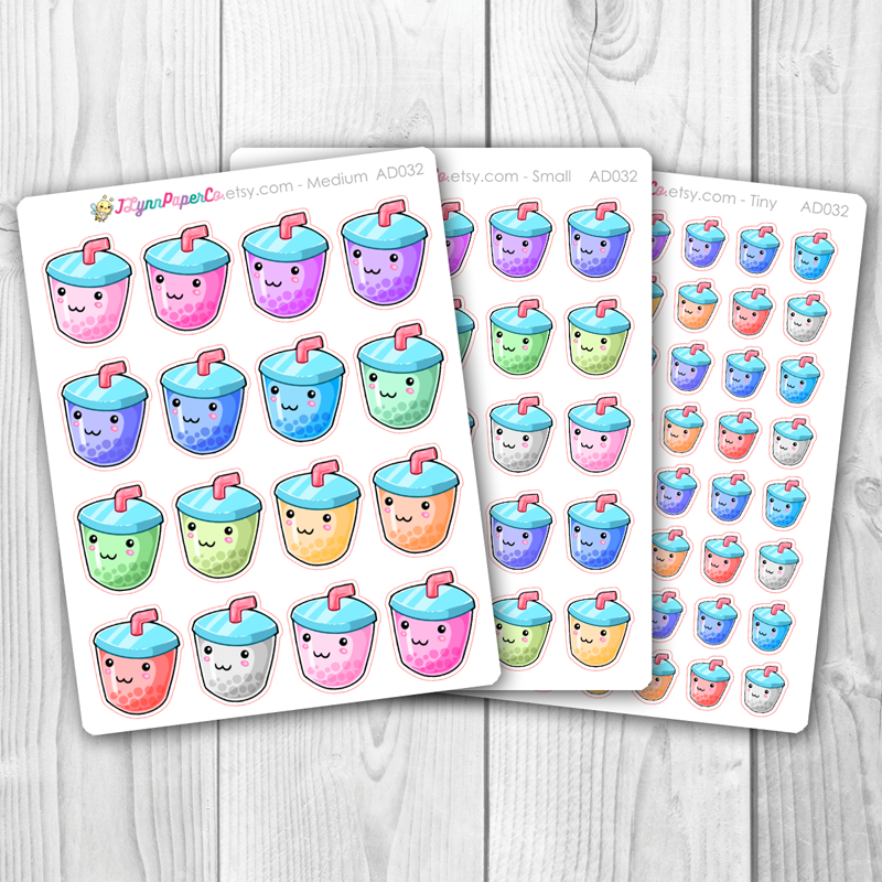 Kawaii Boba Tea Stickers | AD032