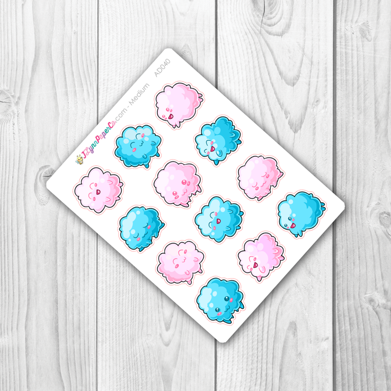 Kawaii Cloud Fluffs Stickers | AD040