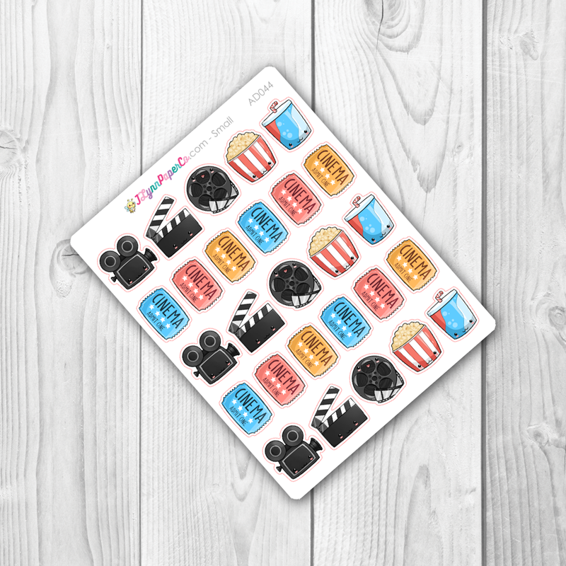 Kawaii Movie Night Stickers | AD044