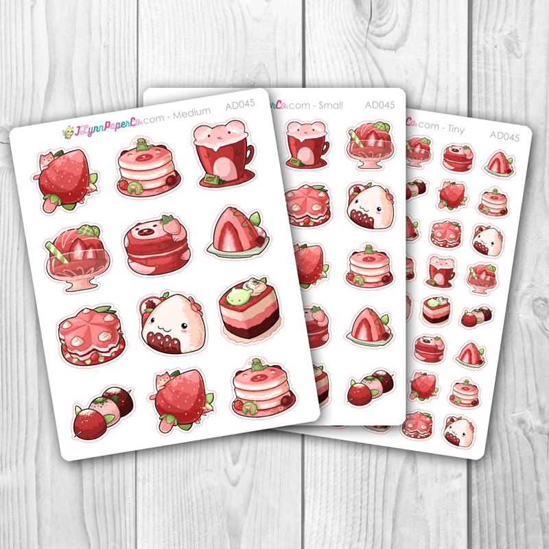 Kawaii Strawberry Foods Stickers | AD045