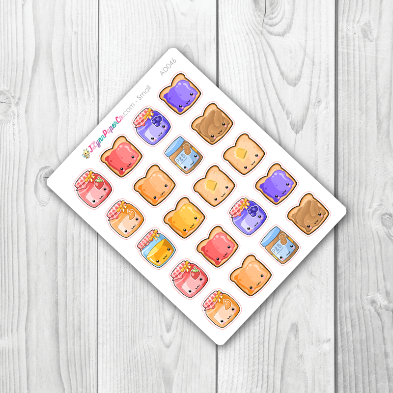 Kawaii Toast & Jellies Stickers | AD046